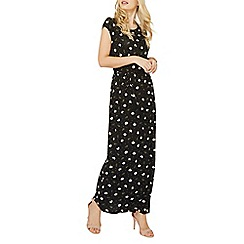Dorothy Perkins - Black daisy spot print jersey maxi dress