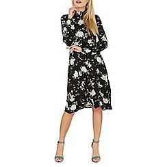 Dorothy Perkins - Black floral print midi wrap dress