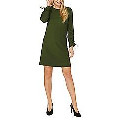 Dorothy Perkins - Khaki ruched sleeve shift dress