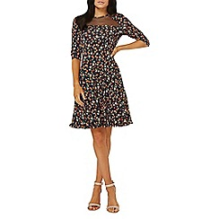 Dorothy Perkins - Navy floral mesh insert fit and flare dress