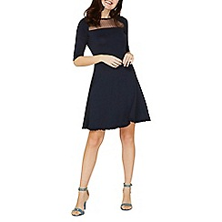 Dorothy Perkins - Navy mesh insert fit and flare dress