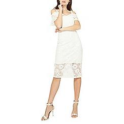 Dorothy Perkins - White lace mix bardot pencil dress