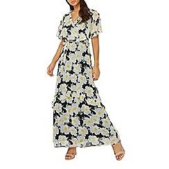 Dorothy Perkins - Black daisy chiffon maxi dress