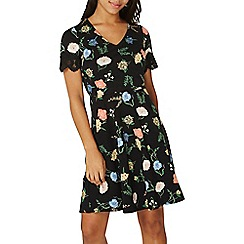 Dorothy Perkins - Black floral print skater dress