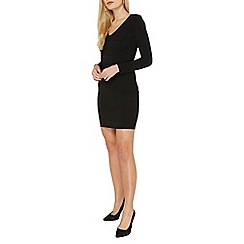 Dorothy Perkins - Black plain shoulder pad mini bodycon dress