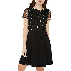 Dorothy Perkins - Black floral mesh fit and flare dress