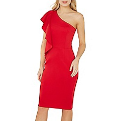 Dorothy Perkins - Red one shoulder ruffle pencil dress