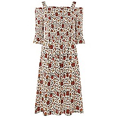 Dorothy Perkins - Cream floral print sheered midi skater dress