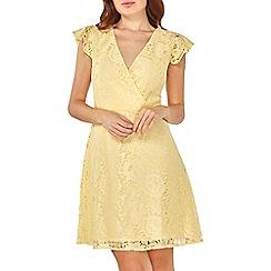Dorothy Perkins - Yellow lace ruffle midi skater dress