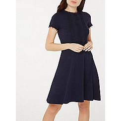 Dorothy Perkins - Navy crochet trim fit and flare dress