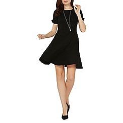 Dorothy Perkins - Black ruched sleeve skater dress
