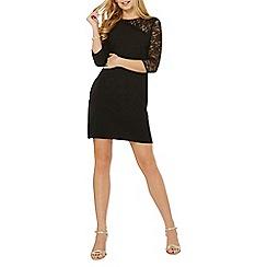Dorothy Perkins - Black asymmetric lace sleeve shift dress