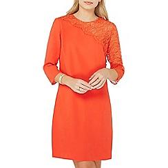 Dorothy Perkins - Coral asymmetric lace sleeve shift dress