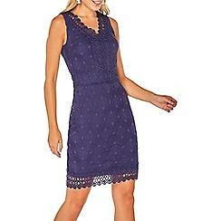 Dorothy Perkins - Navy geometric lace pencil dress