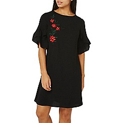 Dorothy Perkins - Black embroidered lace up shift dress