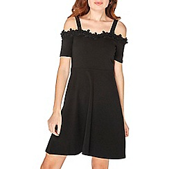 Dorothy Perkins - Black embellished cold shoulder dress
