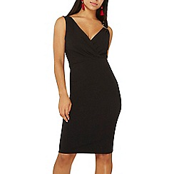 Dorothy Perkins - Black hardware wrap bodycon dress