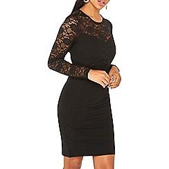 Dorothy Perkins - Black lace insert bandage bodycon dress