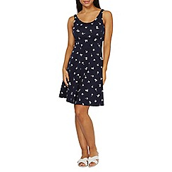 Dorothy Perkins - Navy tropical print seamed fit and flare dress