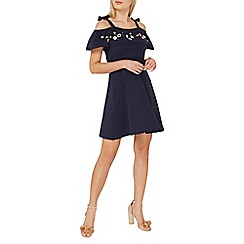 Dorothy Perkins - Navy embroidered fit and flare dress