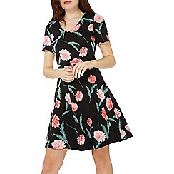 Dorothy Perkins - Black floral v-neck fit and flare dress