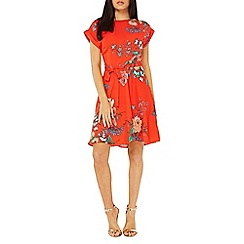 Dorothy Perkins - Red floral print tie skater dress