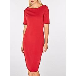 Dorothy Perkins - Red slash neck bodycon dress