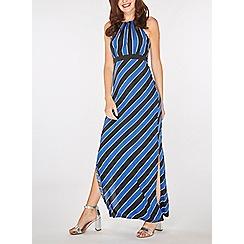 Dorothy Perkins - Blue striped halter neck maxi dress