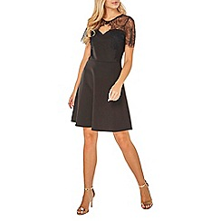 Dorothy Perkins - Black scuba lace top fit and flare dress