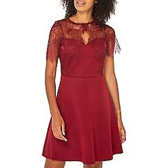 Dorothy Perkins - Wine red eyelash lace skater dress