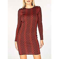 Dorothy Perkins - Red geometric button detail bodycon dress