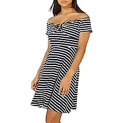 Dorothy Perkins - Navy striped bow fit and flare dress