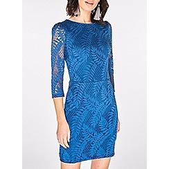 Dorothy Perkins - Teal blue leafy lace bodycon dress