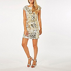 Dorothy Perkins - White and gold sequin embellished shift dress