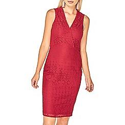 Dorothy Perkins - Wine lace wrap bodycon dress