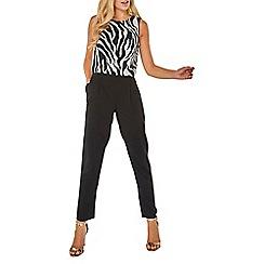 Dorothy Perkins - Monochrome overlay zebra print jumpsuit