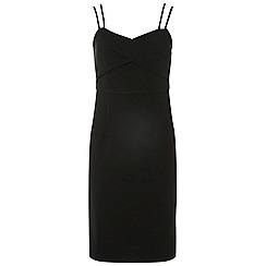 Dorothy Perkins - Black pleat front strappy bodycon dress