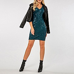 Dorothy Perkins - Green velvet sequin bodycon dress