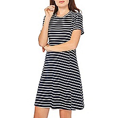 Dorothy Perkins - Navy and white ribbed skater dress