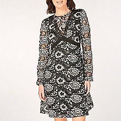 Dorothy Perkins - Black long sleeve heavy lace fit and flare dress