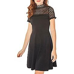 Dorothy Perkins - Black lace neck skater dress