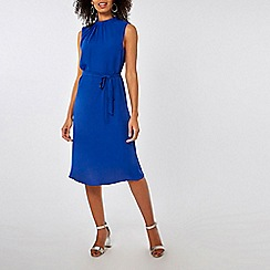 Dorothy Perkins - Cobalt blue high neck chiffon midi dress