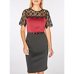 Dorothy Perkins - Wine red lace top pencil dress