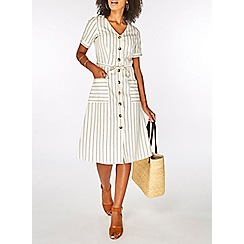 Dorothy Perkins - Cream striped linen button detail shirt dress