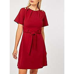 Dorothy Perkins - Red belted button dress