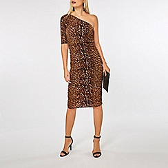 Dorothy Perkins - One shoulder leopard bodycon dress