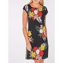 Dorothy Perkins - Black floral stripe shift dress