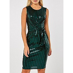 Dorothy Perkins - Green square glitter twist bodycon dress