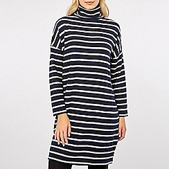 Dorothy Perkins - Navy striped brushed knitted dress