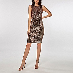 Dorothy Perkins - Bronze square glitter twist detail bodycon dress